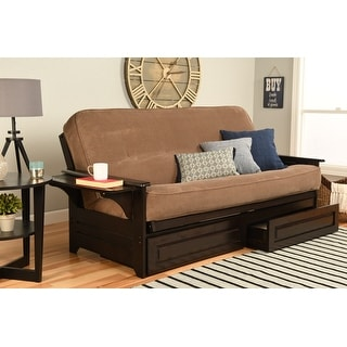 Porch & Den DeSoto Espresso Full-size Futon Frame with Innerspring Mattress and Storage Drawers
