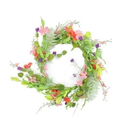 """22"""" Decorative Orange and Pink Daisy Flower Artificial Spring Floral Wreath"""
