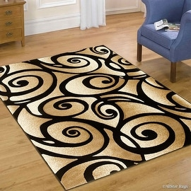 "Black AllStar with Champagne Rugs WovenHand Carved Evolution Swirl Design Area Rug (3' 9"" x 5' 1"")"