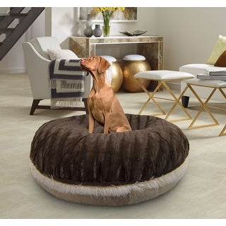 Bessie and Barnie Signature Godiva Brown/ Blondie Luxury Shag Extra Plush Faux Fur Bagel Pet / Dog Bed