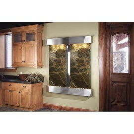 Adagio Cottonwood Falls Fountain w/ Green Rainforest Marble in Stainless Steel F