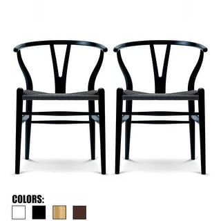 2xhome Set of 2 Woven Wood Armchair with Arms Open Y Back Office Dining Chairs Woven Black Seat For Kitchen Work Restaurant