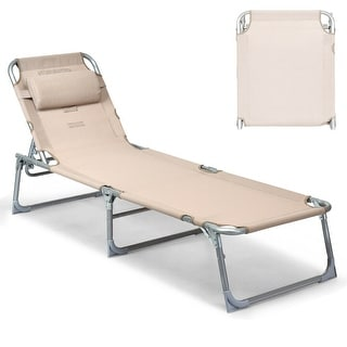 Gymax Adjustable Pool Chaise Lounge Chair Recliner