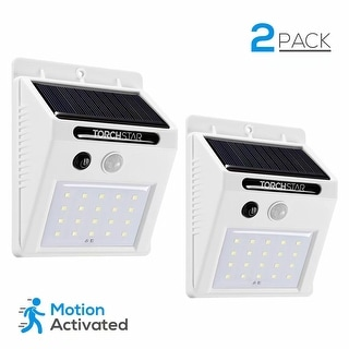 Wireless Solar Powered Outdoor Security Wall Pack, Motion Sensor, White (Pack of 2)