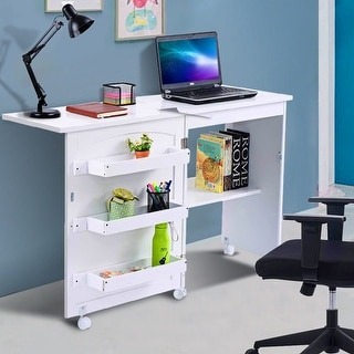 Gymax Swing Craft Table Shelves Storage Folding