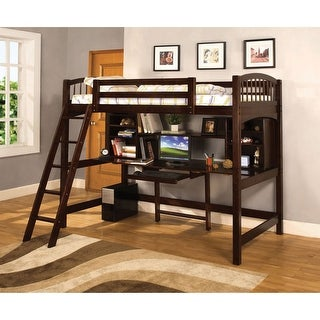 Furniture of America Fila Modern Espresso Twin Loft Bed with Workstation