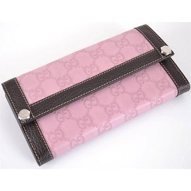 NEW GUCCI 231839 PINK & BROWN LEATHER GG GUCCISSIMA CONTINENTAL WALLET CLUTCH