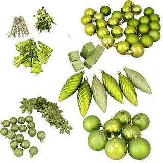 """125ct Green Shatterproof 3-Finish Tropical Christmas Ornaments 5.5"""" (140mm)"""
