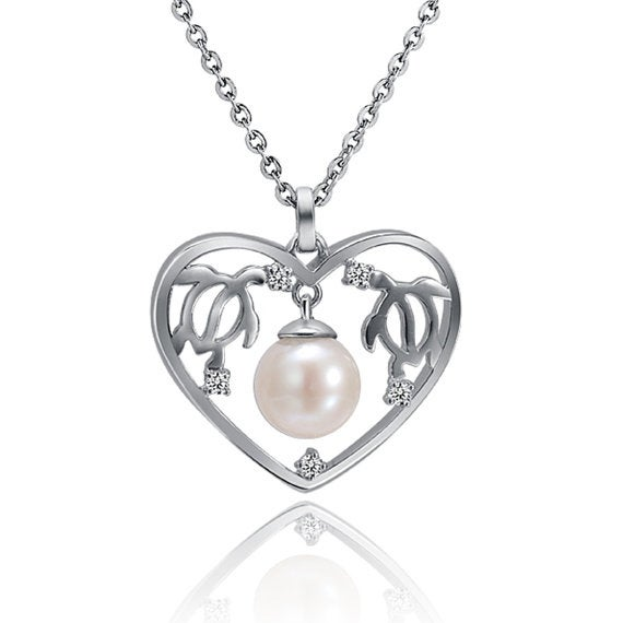 "Sea Turtle Pearl Necklace Sterling Silver Pendant 18"" Chain"