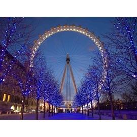 "LED Lighted Famous Giant Ferris Wheel The London Eye Scene Canvas Wall Art 11.75"" x 15.75"""