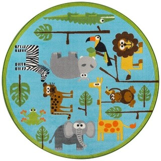 "Momeni Mini Mo Rainforest Friends Blue Kids Area Rug - 4'4"" x 4'4"" Round"