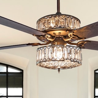 Silver Geometric Diamond Shaped Double-Layered Clear K-9 Crystal Ceiling Fan - 52 Inches