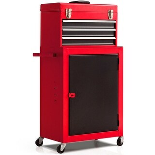Costway 2pc Mini Tool Chest & Cabinet Storage Box Rolling Garage