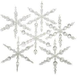 Set of 6 Snowflake Christmas Ornaments - Exclusive Beadaholique Jewelry Kit
