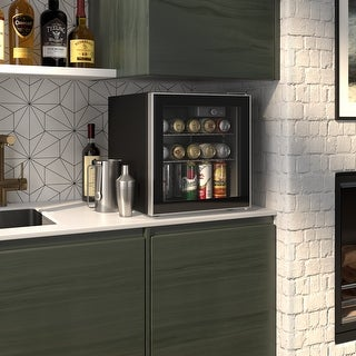 Okada 60 Can or 18 Bottles Beverage Refrigerator or Wine Cooler, Mini Fridge with Glass Door for Beer, soda or Wine