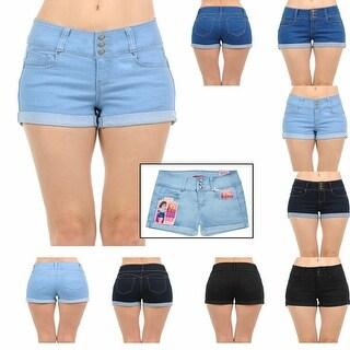 NioBe Clothing Womens Juniors Body Shaping Mid Rise Denim Shorts