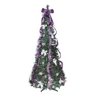 6' Pre-Lit Slim Purple and Silver Decorated Pop-Up Artificial Christmas Tree - Clear Lights - 6 Foot