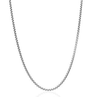 .925 Solid Sterling Silver 2MM Round Box Link .925 Rhodium Necklace Chain, Silver Chain for Men & Women, Made in Italy
