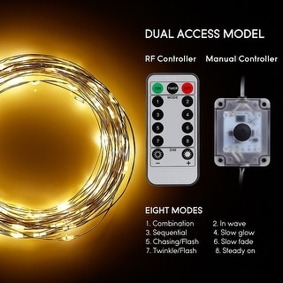 300/100 LEDs String Lights Dimmable with Remote Control, Waterproof Copper Wire, 3000K Warm White