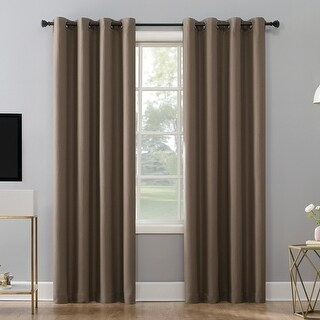 Sun Zero Niko Textured Grid Thermal Extreme 100% Total Blackout Grommet Curtain Panel