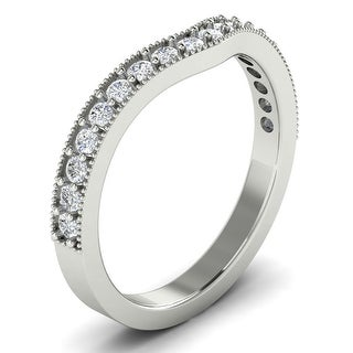 0.36 CT Antique Milgrain Curved Round Cut Diamond Wedding Band in 14KT