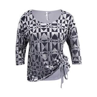 NY Collection Women's Velvet Print Side Tie Top - Grey