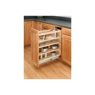"Rev-A-Shelf 448-BC-5C 448 Series 5"" Wide Base Cabinet Pull Out Shelves - Natural Wood"