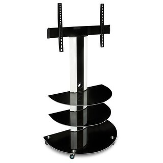 Mount-It! Rolling TV Cart with 3 Glass Shelves