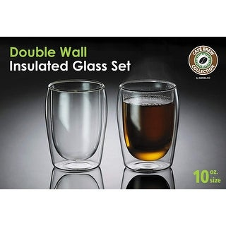 Medelco Cafe Brew Collection 10 Ounce Double Wall Glasses, Set of 2 Borosilicate Insulated Glass for Coffee/Tea