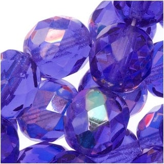 Czech Fire Polished Glass Beads 8mm Round Blue Sapphire AB (25)