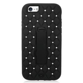 Insten Symbiosis Dual Layer Hybrid Stand Rubber Silicone/ PC Case Cover With Diamond For Apple iPhone 6 Plus/ 6s Plus