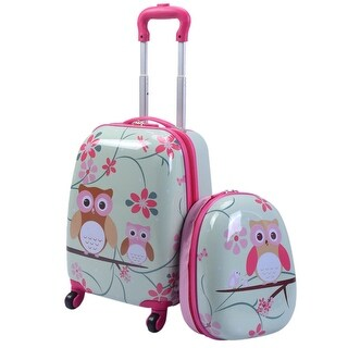 Costway 2Pc 12'' 16'' Kids Luggage Set Suitcase Backpack School Travel Trolley ABS - Pink