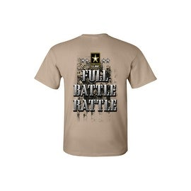 Men's T-Shirt Full Battle Rattle US Army Military Forces Camo Front & Back Graphic