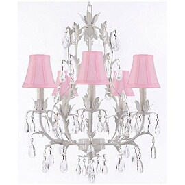 White Wrought Iron Floral Crystal Chandelier With Shades!