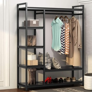 Free -Standing Closet Organizer Storage Shelves and Hanging Bar