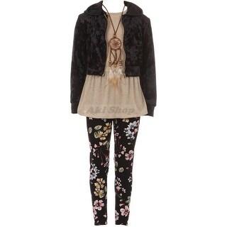 Girl 4-Piece Pants Set Tank Top Necklace Legging Jackets Combo
