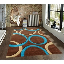 8x10 Feet Blue Brown Beige New Modern Contemporary Geometric Vegas Circles Hand-Carved Area Rug Carpet