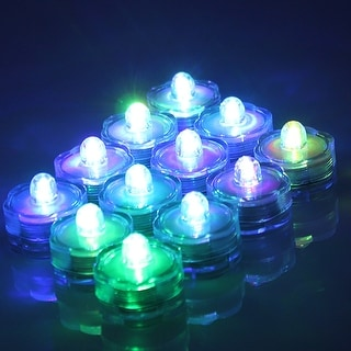 Image 12x Flameless LED Tea Light Submersible Light Candles Battery-powered RGB Changing Color - SIZE