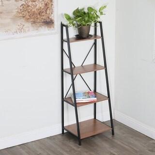 Carbon Loft Cavendish 4-tier Walnut Ladder Bookshelf with Black Frame