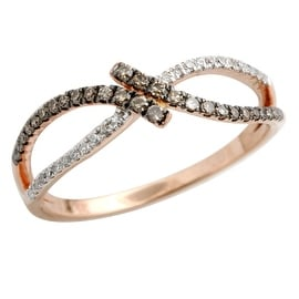 Attractive 0.20 Carat Round Brilliant Cut Natural Brown Diamond With Diamond Twisted Ring