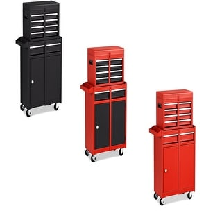 2 in 1 Tool Chest & Cabinet with 5 Sliding Drawers Rolling Garage Organizer