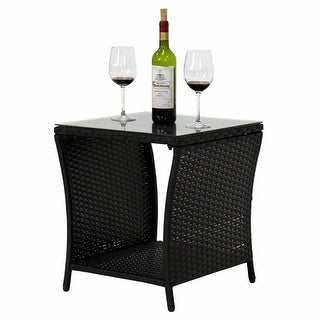 Wilminton Outdoor Square Wicker Side Table with Glass Top & Storage by Havenside Home