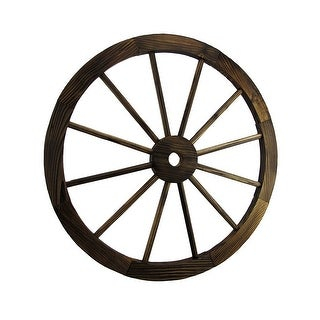 24 Inch Diameter Wooden Wagon Wheel Decorative Wall Hanging