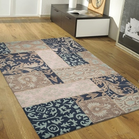 """Dark Blue AllStar Rugs Hand-Made High Quality Extra Clean Wool Area Rug, Vintage Designs and Artistry. Size: 7'10"""" x 10'11"""""""