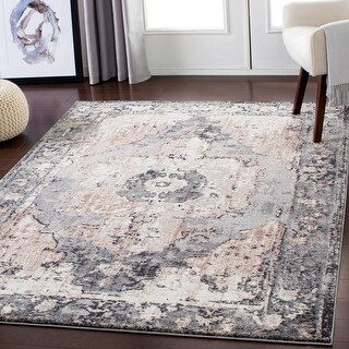"Gray Distressed Traditional Area Rug (7'10"" x 10'3"") - 7'10"" x 10'3"""