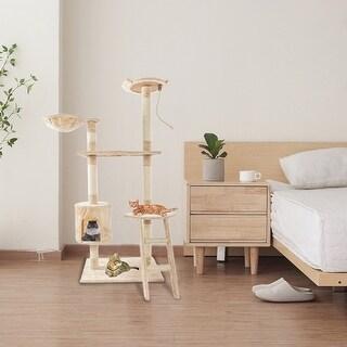 "60"" Solid Cute Sisal Rope Plush Cat Climb Tree Cat Tower Beige - 60""-Beige"