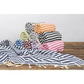 Cabana Blue Stripe Cotton Turkish Beach Bath Towel,Super Soft and Chic 72'x39'