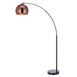 """Versanora Arquer Arc Floor Lamp, Rose Gold Finished Shade, Black Marble Base, 67""""H"""