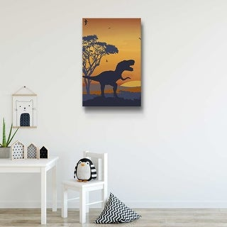 Roar of The T-Rex Blue Gallery Wrapped Canvas