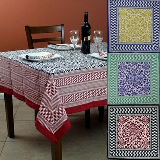 French Country Cotton Geometric Tablecloth Square 72 x 72 Inches Table Linen Napkins Red Black Yellow Blue Purple Green
